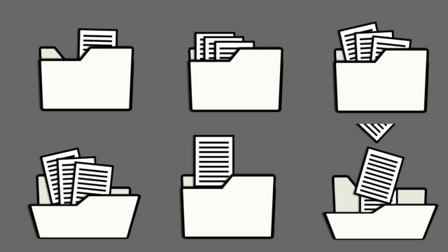 Different animation of folder icons and printed pages, loop and alpha channel video