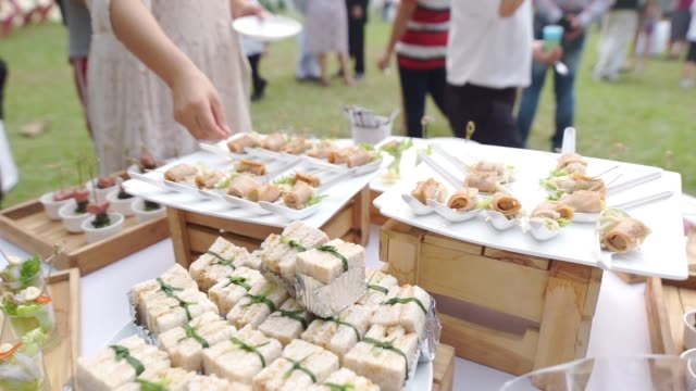different appetizer canape on white plate on a table for outdoor wedding and events. - buffet video stock e b–roll