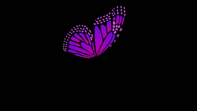 Different Colors Side View Butterfly Flapping Wings Animations With Alpha Matte 5 Seconds Seamless Loop