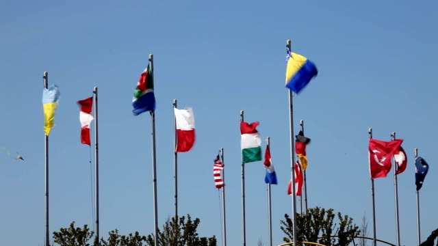 Different countries flags video