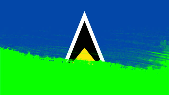 4K - 3 Different Paint Brush Style Transition Animation with Saint Lucia Country Flag