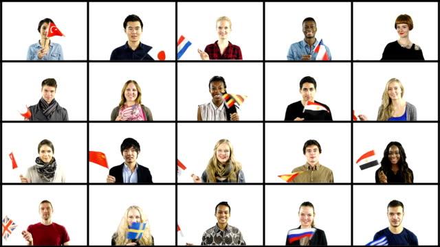 persone diverse nazionalità di bandiere nazionali-montaggio - motivo a griglia video stock e b–roll