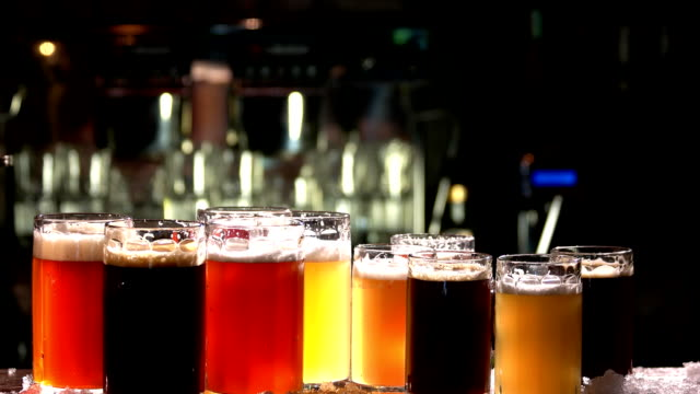 Different sorts of draft beers. Different sorts of draft beers. Set of alcoholic beverage. tasting stock videos & royalty-free footage
