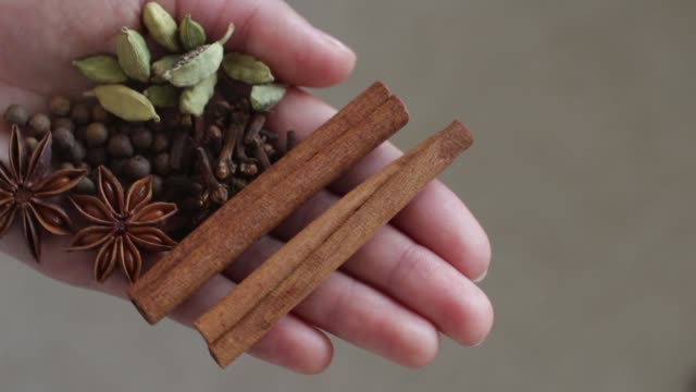 different spices in a woman's hand
