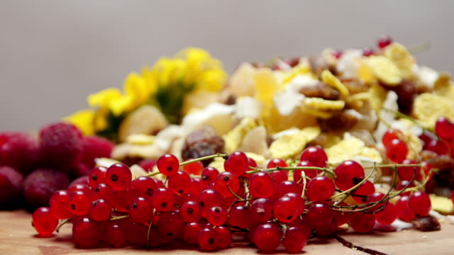 different types of fresh and dried fruit, rotating - ribes rosso video stock e b–roll