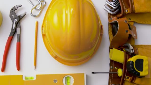 different work tools on white background - klucz ręczne narzędzie filmów i materiałów b-roll