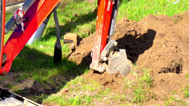 Digger Machine Digging The Hole in 4k slow motion 60fps