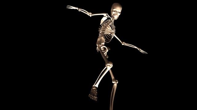 Digital 3d Animation Of A Posing Skeleton Stock Video