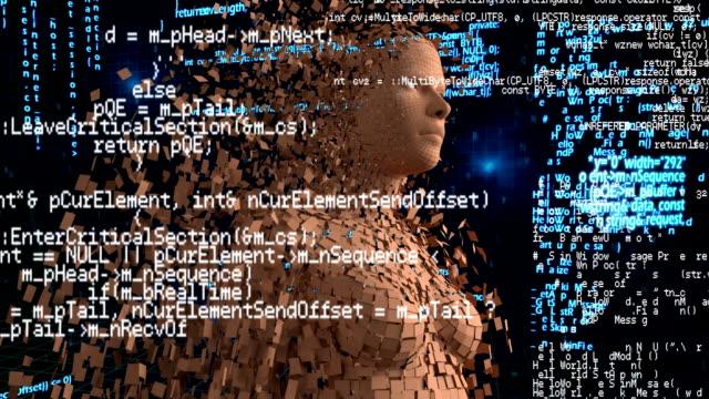 digital animation of a woman with program codes - rappresentazione umana video stock e b–roll