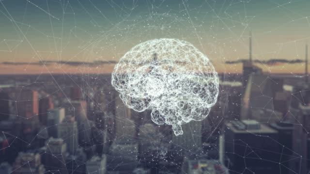 Digital animation of brain hologram. Holographic rendering brain, against the background of skyscrapers. concept of business processes and communications, technology, connection Digital animation of Global world hologram. Holographic rendering Earth, against the background of skyscrapers. illustration of business processes and communications, technology, connection. brain stock videos & royalty-free footage