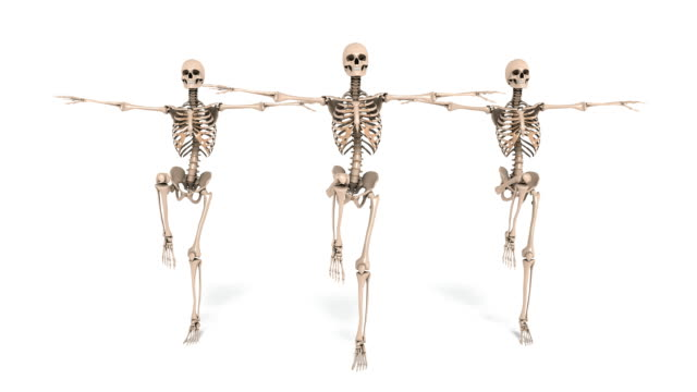 Digital Animation of cheerleading Skeletons Digital Animation of cheerleading Skeletons ghost icon stock videos & royalty-free footage