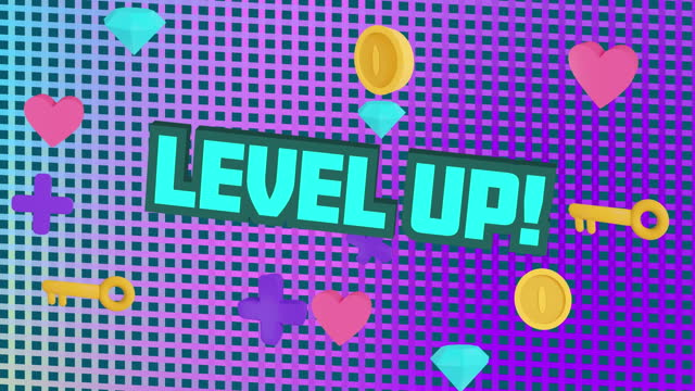 Digital animation of level up text over diamond