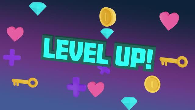 Digital animation of level up text over multiple keys