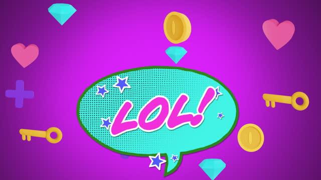 Digital animation of lol text on speech bubble against multiple diamond