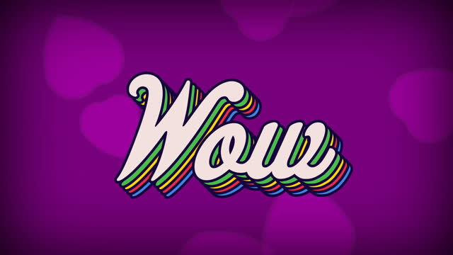Digital animation of multicolored wow text in retro style against multiple heart icons on purple bac