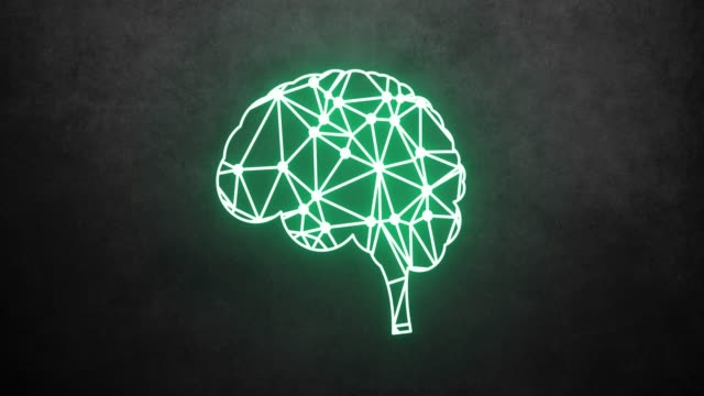 Digital animation of neon brain hologram. Artificial intelligence brain loop stock video.