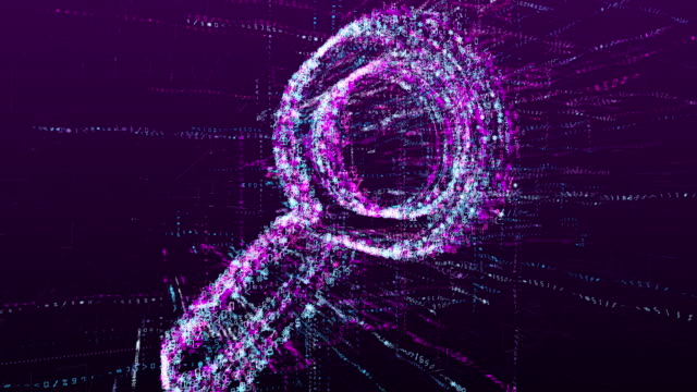 Digital animation of search mark. Magnifier in the virtual space of the future. Digital animation of search mark. Magnifier in the virtual space of the future. magnifying glass stock videos & royalty-free footage