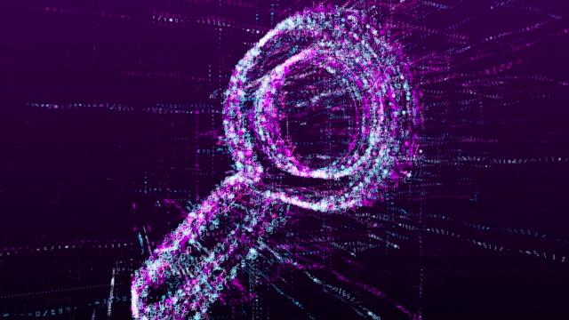 digitale animation des suchzeichens. lupe im virtuellen raum der zukunft. - lupe stock-videos und b-roll-filmmaterial