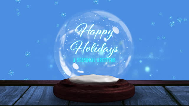 Digital animation of shooting star spinning around happy holidays text on snow globe