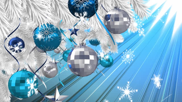 Digital animation of snow flakes falling over christmas bauble and star decorations hanging on tree