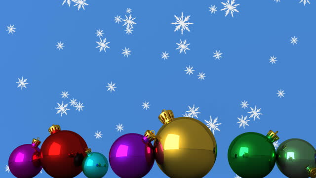 Digital animation of snowflakes falling over multiple colorful christmas baubles