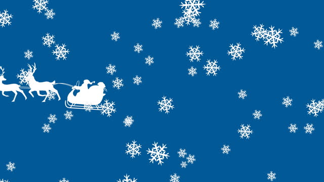 Digital animation of snowflakes falling over silhouette of christmas tree in sleigh