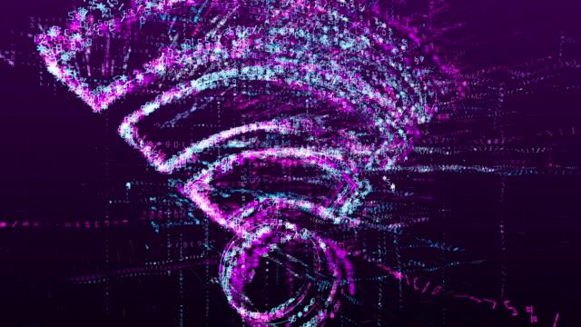 數位動畫標誌的wi-fi通信,資料傳輸在未來的虛擬空間。抽象概念。 - 無線技術 個影片檔及 b 捲影像