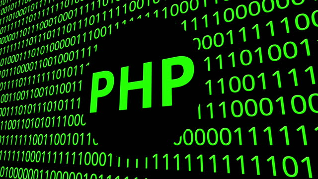 Digital animation - php icon on binary code.4k video