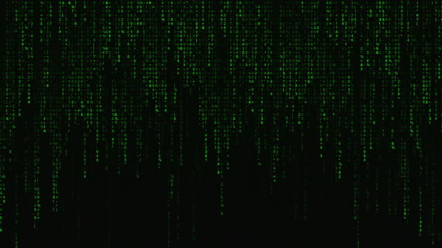 Digital binary code processing on screen background loop. Data rendering of a scientific technology data binary code. Concept of science, motion graphic, digital technology, matrix background.
