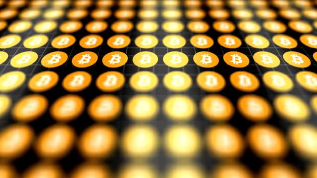 Digital Bitcoin data scrolls across digital landscape V1 video