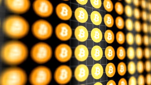 Digital Bitcoin data scrolls across digital landscape V2 video