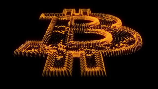 Digital bitcoin logo in cyber style video