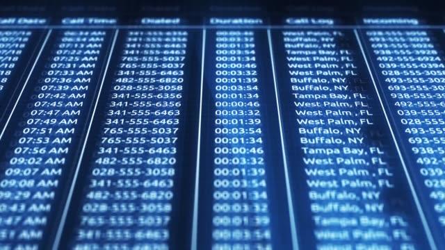 digital blå datoriserad telefon poster i onlinedatabasen - kriminell bildbanksvideor och videomaterial från bakom kulisserna