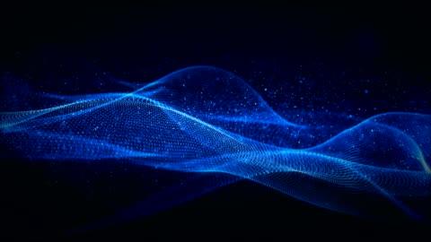 vídeos y material grabado en eventos de stock de onda digital partículas azules con fondo abstracto movimiento luz - fluir