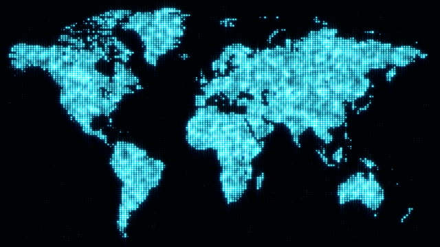 Digital blue world map in flickering dots. video