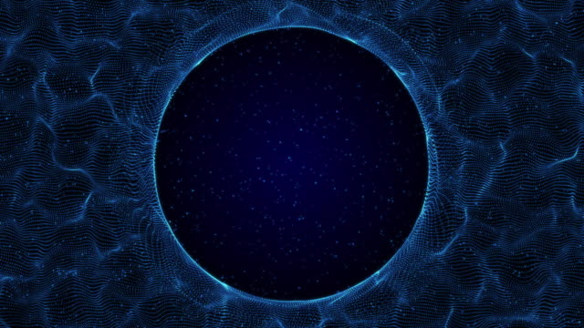 Digital circle wire frame technology blue background