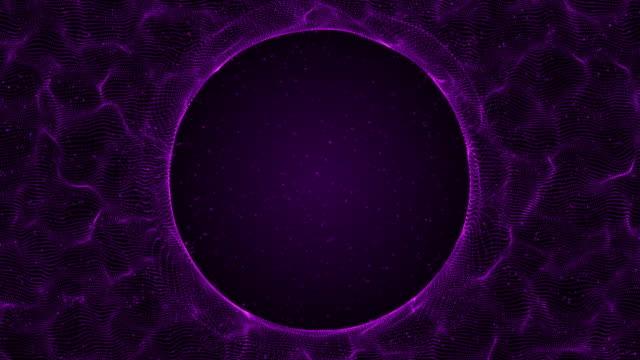 Digital circle wire frame technology violet background