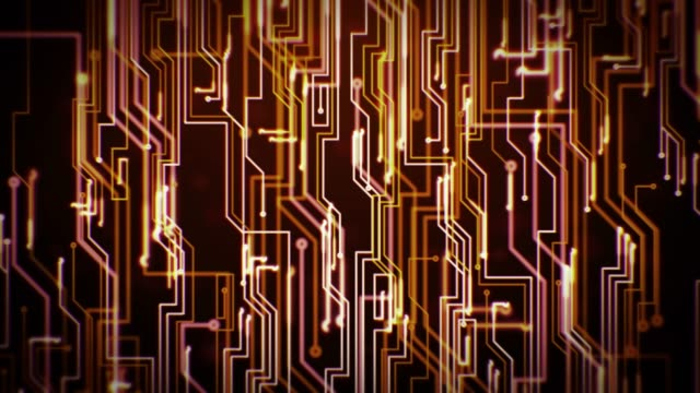 vídeos de stock e filmes b-roll de digital circuit loop - warm colors - castanho