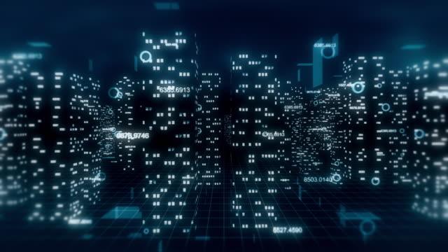3D dijital şehir arka plan video