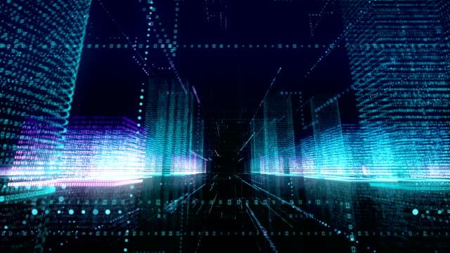 цифровой город и глобальная коммуникация loopable 4k - abstract architecture стоковые видео и кадры b-roll