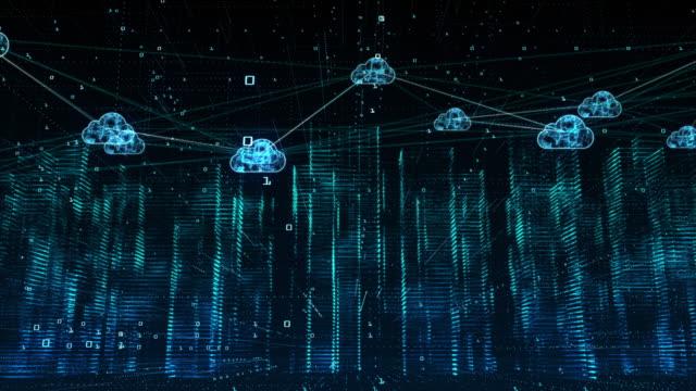 vídeos de stock, filmes e b-roll de cidade digital, ciberespaço digital, conceito de conexões de computação em nuvem de rede de dados digital - computação em nuvem