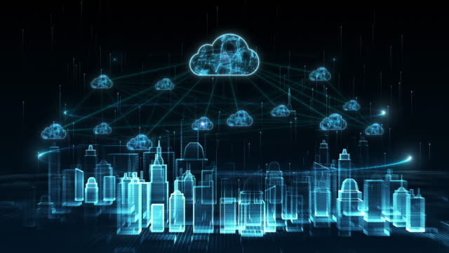 Digital city, Digital cyberspace, Digital data network cloud computing connections concept