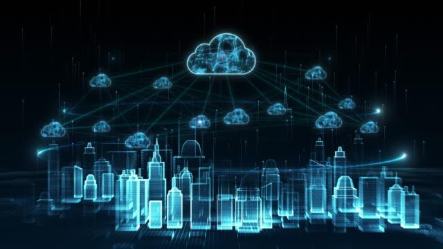 デジタルシティ、デジタルサイバースペース、デジタルデータネットワーククラウドコンピューティング接続コンセプト - クラウドコンピューティング点の映像素材/bロール