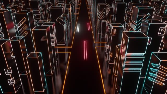 デジタルシティ - 緑 ビル点の映像素材/bロール