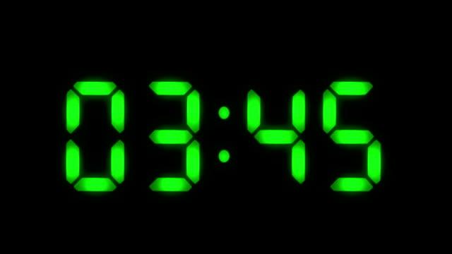 Digital clock. 1 frame per minute. Loopable. Green. video