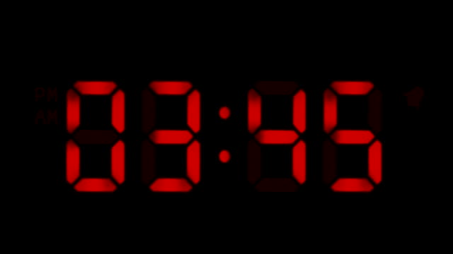 Digital clock. 1 frame per minute. Loopable. Red. video