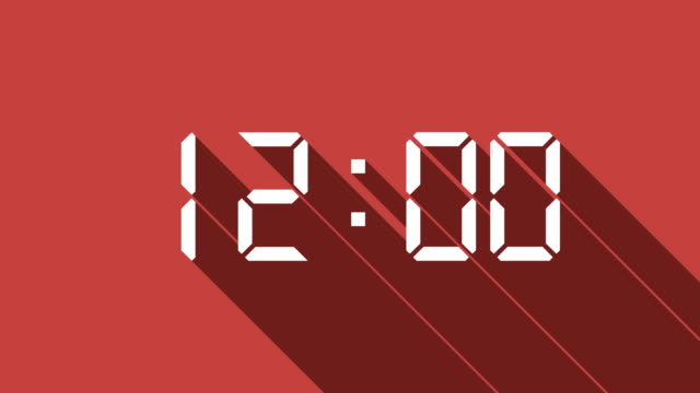 Digital Clock Count with Long Shadow
