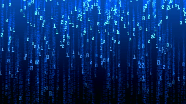 vídeos de stock e filmes b-roll de digital code falling and computer hacker - bit código binário