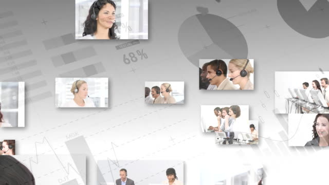 digitalcomposite von callcenter-agenten - digital composite stock-videos und b-roll-filmmaterial