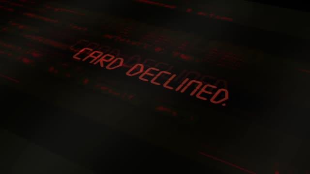 digital computer typography series - card declined - credit card стоковые видео и кадры b-roll